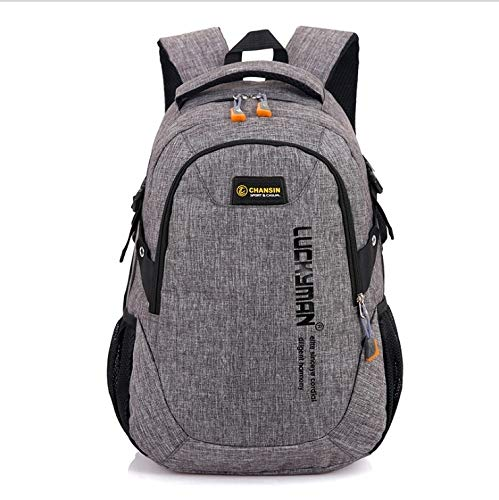 LYYCEU Travel Bag Neutral Waterproof Design Polyester Fabric Leisure Business Laptop Backpack (black) (Color : Grey)