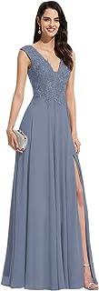 Noras dress V Neck Chiffon Prom Dresses Long Split Evening Gowns Lace Bridesmaid Dress for Women B123