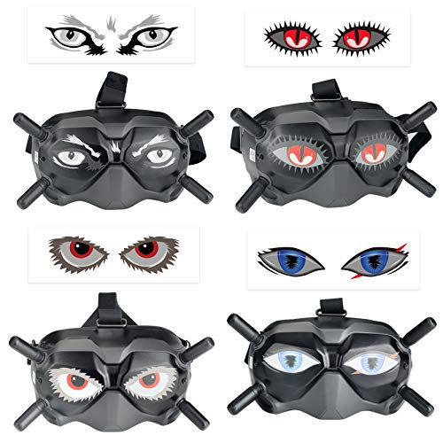 Hensych 4 unids/set pegatinas de ojos calcomanías de piel para FPV Gafas V2 Flying Glasses Anti-Scratch Extraíble Ojo en forma de PVC Pegatinas Película protectora para Phantom 2/3/4 Series drone