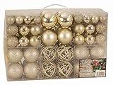Set di 100 palline di Natale di colore champagne Per decorare l'albero di Natale. Le palline sono disponibili in 3 diverse finiture: con glitter, lucide e opache. 3 diverse misure: diametro 6 cm, diametro 4 cm e diametro 3 cm. 100 palline di Natale i...