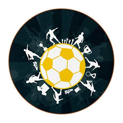 Posavasos (Set de 6) - Regalos Originales Decorativos para café Cocina uno Drink Taza Vino Tazas Vasos Cristal- Juego de mesas Amarillo fútbol 11x11 cm