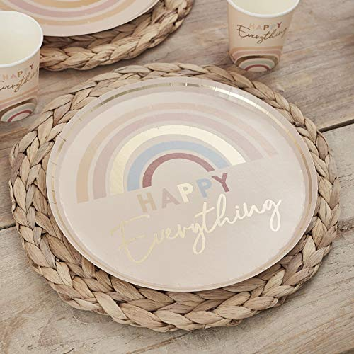 Ginger Ray Happy Everything Pastel Rainbow Plates, 8 per pack - Card