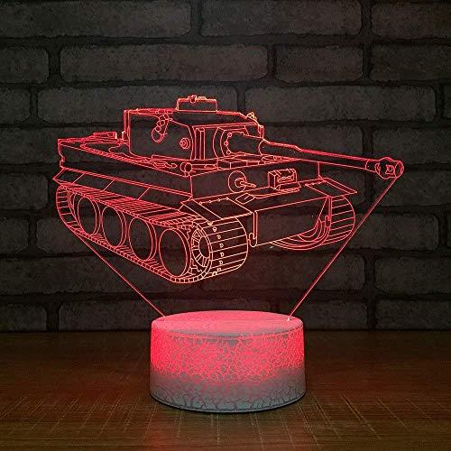Optische Täuschung 3D Panzer Nacht Licht 7 Farben Andern Sich USB Adapter Touch Schalter Dekor Lampe LED Lampe Tisch Kinder Geburtstag Weihnachten Geschenk