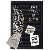 Gadgy ® Retro Filz Letter Board Schwarz | Mit 710 golden, Silber & weiße Buchstaben und Beutel |...