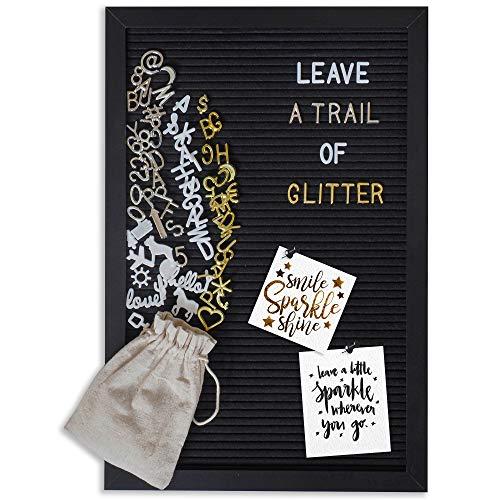 Gadgy ® Retro Filz Letter Board Schwarz | Mit 710 golden, Silber & weiße Buchstaben und Beutel | 30x45 cm