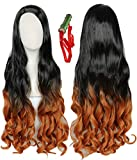 Linfairy Long Dyed Cosplay Wig with plastic Bamboo Tube Halloween Costume Full Wig For Women