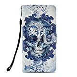 CANDY HOUSE LG V40 Funda, LG V40 ThinQ Casa, Premium 3D Wallet Phone Case Blue Skull Design PU Leather with Card Holder & [Hand Strap] Stand Magnetic Flip Cover Fit LG V40 ThinQ