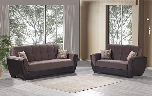 Ottomanson AIR-SB-107 Air Chocolate Brown Fabric Upholstery Sleeper Sofabed With Storage, 36' x 92' x 38'