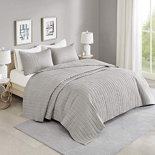 Comfort Spaces Kienna Quilt Coverlet Bedspread Ultra Soft Hypoallergenic All Season Lightweight Filling Stitched Bedding Set, Oversized King 120'x118', Gray