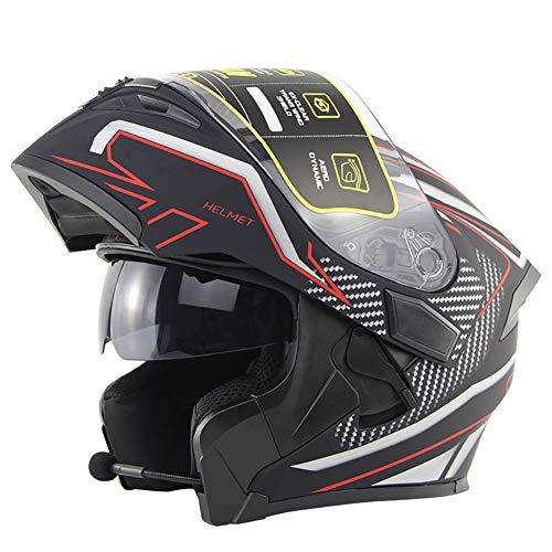 Bluetooth Integrado Casco de Moto Modular con Doble Anti Niebla Visera Cascos de Motocicleta ECE Homologado a Prueba de Viento para Adultos Hombres Mujeres 55-62CM
