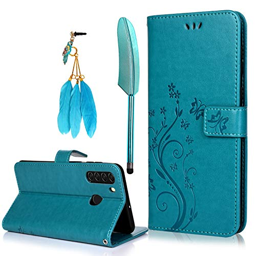 MOLLYCOOCLE Galaxy A21 case,Premium PU Leather with ID Credit Card Slot Holder Flip Cover Stand Magnetic Closure Shockproof Protective Flip Case (Butterfly Flower Blue)