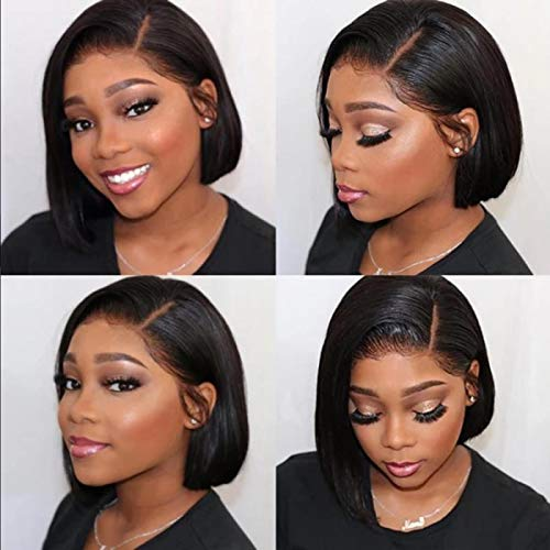 """Perruque naturelle femme, cheveux naturels humain lisse, coupe au carré qualité Remy hair, avec lace front 13 * 4 (20 cm - 8"""")"""