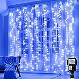 Hezbjiti 300 LEDs Cortina de Luces 3m x 3m, Resistente al Agua, 8 Modos de Luz, decoración de Navidad, fiestas, bodas, jardín etc.