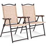Giantex Patio Folding Chairs Sling Back Chairs Indoor Outdoor Camping Chairs Garden Patio Pool Beach Yard Lounge Chairs w/Armrest Set of 2 Folding Patio Chairs (Yellow)