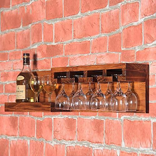 MTX Ltd Weinregalhalter Weinregal Hölzerne Aufhängung Regal Europäischer Wandbehang Weinriemen Restaurant Retro-Stil Becher Teppiche Weinreiter Weinhalter, 2#