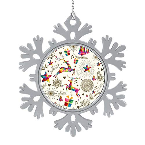 DESPKON Snowflake Pendant Christmas Vintage Retro Deer Pattern Background Decorations Personalized Ornament for Holiday Party, Crafting, Wedding, Christmas Trees and Embellishing 2 Inch