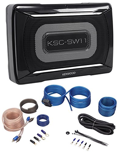 "Kenwood KSC-SW11+RWK10 Jeep Wrangler 87-06 8"" Powered Compact Slim Subwoofer Enclosure+Amp Kit"