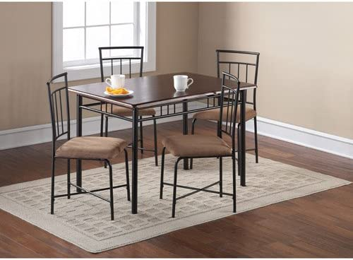 Amazon Com Mainstays 5 Piece Wood And Metal Dining Set Espresso Table Chair Sets