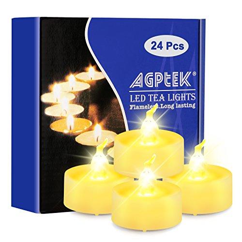 AGPtek 24 Stück LED Teelichter mit Timer, flackernde warmweiße LED Teelichter mit Timerfunktion 6 Stunden an und 18 Stunden aus, 24er Pack flammenlose batteriebetriebene Kerzen für Haus Dekoration