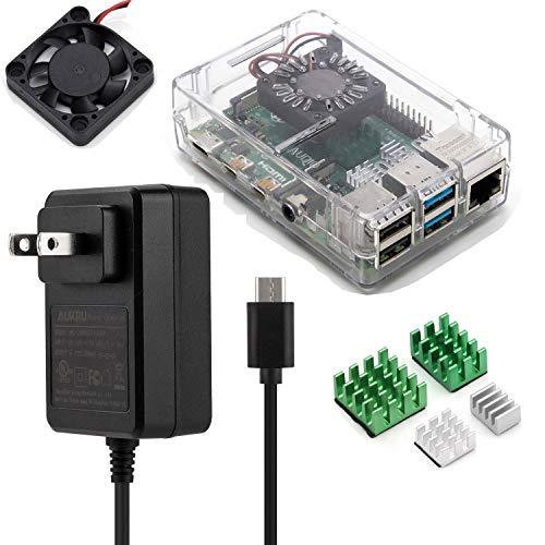 Aukru USB Typ C Ladegerät 5V 3A Netzteil für Raspberry Pi 4 Modell B mit transparentem Gehäuse, Kühlkörper, Lüfter