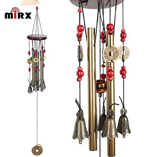 Windspiel, Bronze, 4 Metall-Zylinder, 5 Glocken, 60cm lang, für Garten, Ornament für den Außenbereich - 3