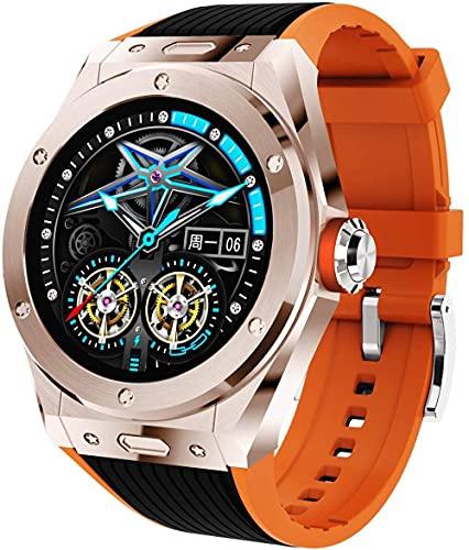 DHTOMC Reloj inteligente inteligente pulsera deportiva, con llamada Bluetooth, música Bluetooth, sueño, modo multideporte, datos de ejercicio, rastreador de fitness, oro rosa