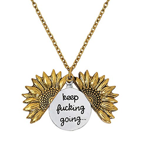 LIAOWY Keep Going Engraved Necklace Sunflower Locket Necklace Pendant for Women Men Girls