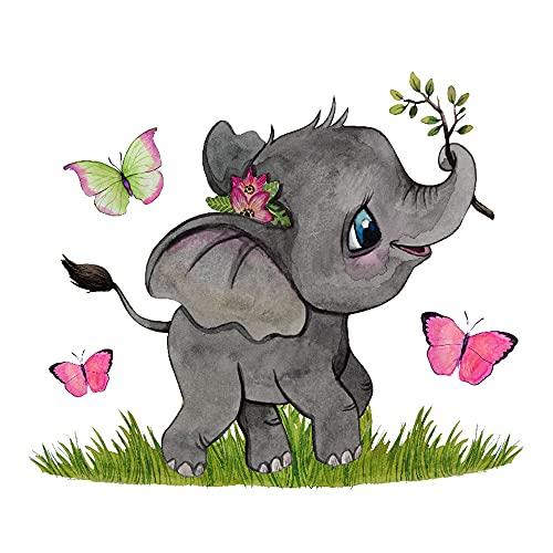 ilka parey wandtattoo-welt Mini Fensterbild Kleiner Elefant Schmetterlinge WIEDERVERWENDBAR Fensterdeko Fensterbilder Frühling Frühlingsdeko Deko bf47mini