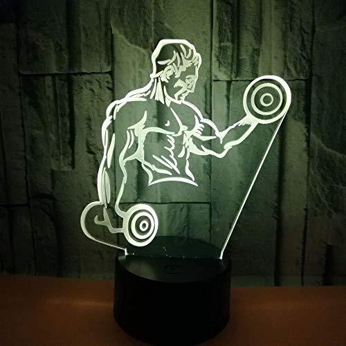 Neu Heiße Bodybuilding 3D kleine Nachtlicht Hantel Fitness sieben Farben Touch Remote USB LED Licht LED visuelle Geschenk 3D Lampe
