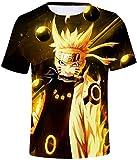 FLYCHEN Niños Camiseta con Motivo Naruto 3D Impreso Gráfica Fantástica Boy's T-Shirt Cuello Redondo Animados - Amarillo - XXS