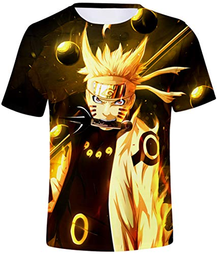 FLYCHEN Niños Camiseta con Motivo Naruto 3D Impreso Gráfic