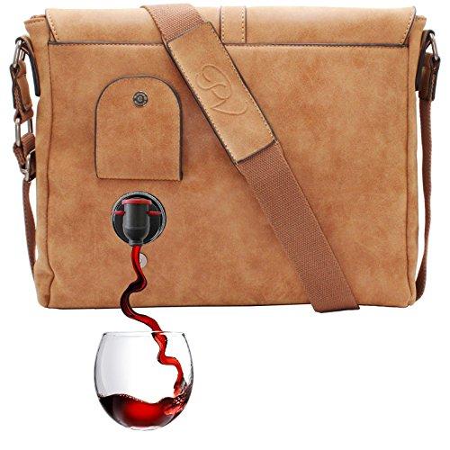 PortoVino Weinumhängetasche (Kamel) - Modische Weinbörse mit verstecktem, isoliertem Fach für 2 Flaschen Wein!