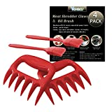 VCHOMY Meat Claws - 2 Pack BBQ Bear Claw Meat Shredders for Shredding Pulled Pork,Chicken,Beef,and Turkey, Barbecue Grill Tool Set with 2 Pcs Silicone Oil Brush for Free