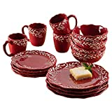 American Atelier Holiday Round Dinnerware Set – 16-Piece Ceramic Party Collection w/ 4 Dinner...