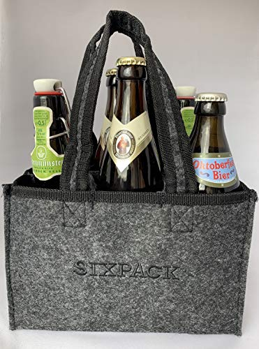 Herrenhandtasche Sixpack - Bier-Tasche, anthrazit - Lustiges Geschenk für echte Männer