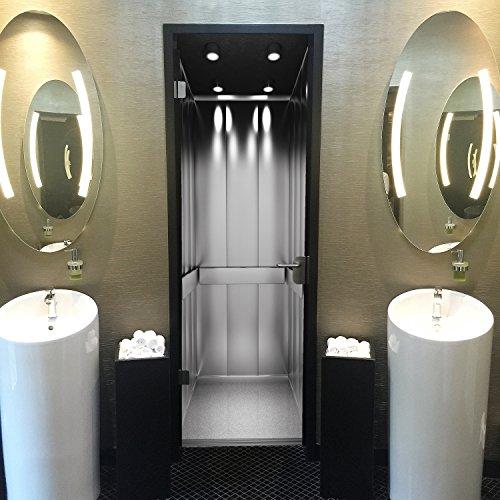 Murimage deurbehang rijstoel 86 x 200 cm lift patroon roestvrij staal kantoor fotobehang inclusief behanglijm