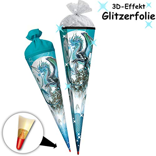 alles-meine.de GmbH 3D Glimmer & Glanz - Effekt ! - Schultüte - Drache / Eisdrache - 85 cm - mit Holzspitze - 6 eckig - Tüllabschluß - Zuckertüte - Roth - Jungen Junge - Drachen ..