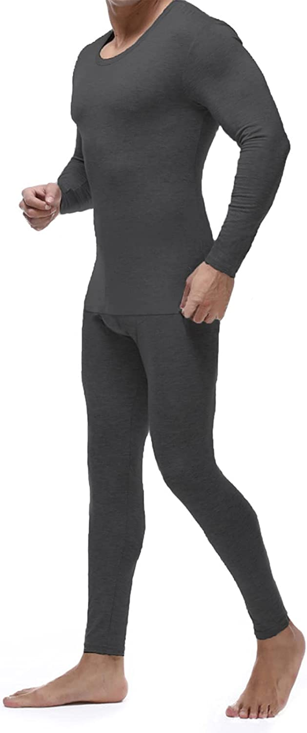 Mens Thermal Underwear Fleece Lined Warm Base Layer Long Johns Tops and Bottom