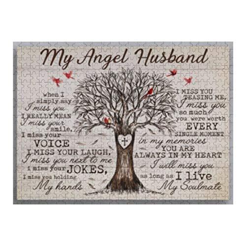 VinMea Rompecabezas de 1000 piezas de My Angel Husband I Miss Your Jokes I Miss You, rompecabezas para niños, adultos, decoración del hogar, juguetes divertidos, regalos de cumpleaños