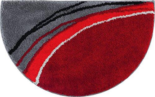 Erwin Müller Duschvorlage, Duschmatte, Duschvorleger rutschhemmend rot Größe halbrund 50x80 cm - kuscheliger Hochflor, für Fußbodenheizung geeignet (weitere Farben)
