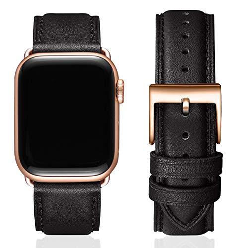 SUNFWR Lederbänder für Apple Watch Armband 38mm 40mm 42mm 44mm,Männer Frauen Ersatz-Echtlederband für iWatch Serie 6 5 4 3 2 1,SE,Sport,Edition(38mm 40mm,Schwarz&Roségold Adapter)
