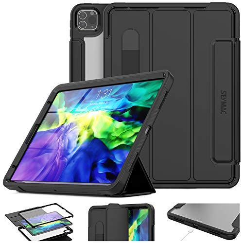 SEYMAC Stock Shockproof Case for iPad Pro 11 2020 2nd Generation & 2018, Lightweight Magnetic Smart Case with Stand [Clear Back Cover] Pencil Holder & Screen Protector for iPad Pro 11 Inch(Black)