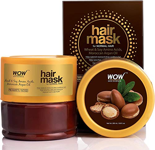 Glamorous Hub WOW Skin Science Wheat & Soy Amino Acids Moroccan Argan Oil Hair Mask for Normal Hair 200mL (Packing May Vary)