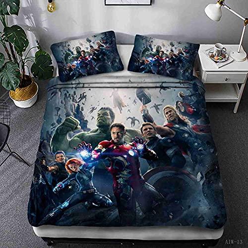LXTOPN 3D Avengers Sábana bajera de microfibra con fundas de almohada, 30 cm gruesas, protección de colchón, impresión 3D, antideslizante, resistente a las arrugas (8,160 x 200 x 30 cm)