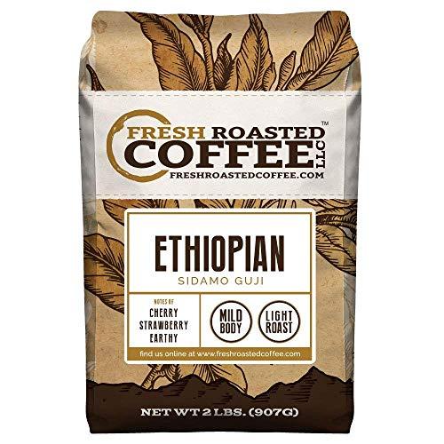 Fresh Roasted Coffee LLC, Ethiopian Sidamo Guji Coffee, Single Origin, Light Roast, Whole Bean, 2 Pound Bag