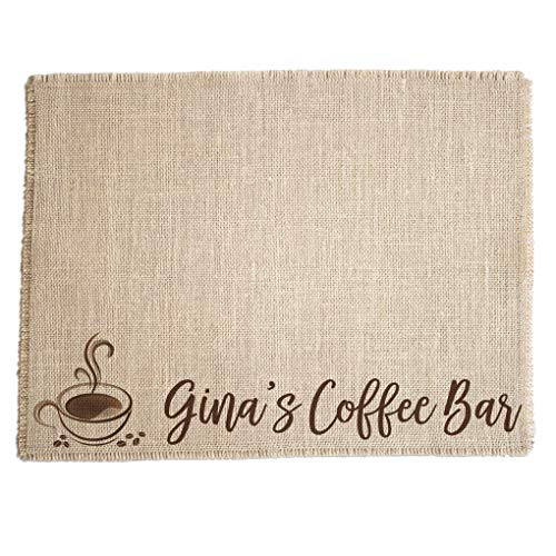 Personalized Coffee Bar Mat - Customized Burlap Placemat for your Coffee Maker - Made in the USA