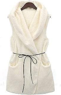 Weixinbuy Women Winter Warm Lamb Sleeveless Solid Color Casual Lapel Coat Sweater Vest Jacket