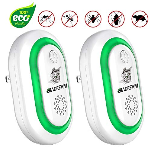 Eradream Pest Repeller Plug in, Electronic Pest Repellent Ultrasonic for Pest Reject, Newest Mice Control Indoor Use Non-Toxic for Bug Spider Rodent Ant Mosquito Roach No Kill(2 Pack)
