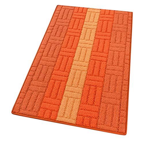 Alfombra de cocina bordada absorbente, tejido 3D, varios tamaños y colores, multiusos, para baño, dormitorio, pasillo, 100 % fabricada en Italia, mod. Mia 50 x 115 cm, naranja