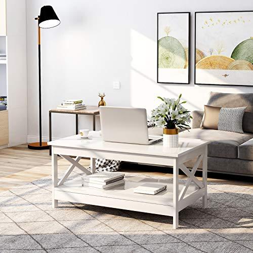 Kaffeetisch Wohnzimmer Tisch Moderner Couchtisch aus Holz mit Lagerregal (Weiß)